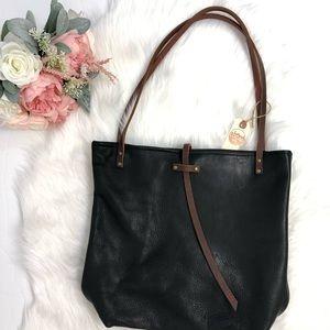 In Blue Handmade Leather Handbag Tote Black